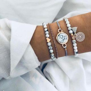 Styles Mix Turtle Heart Pearl Wave LOVE Crystal Marble Charm Bracelets
