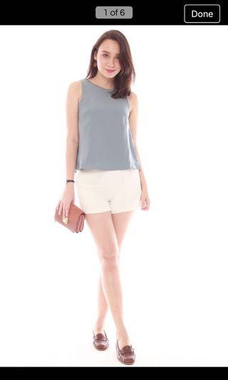 ACW pleated shell top in ash blue