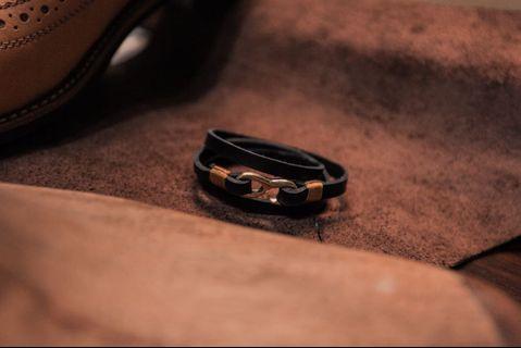 Aska Black Leather Bracelet w/ Gold Hook - Kulit Asli