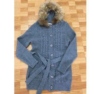 Betty's 連帽羊毛 針織長版外套