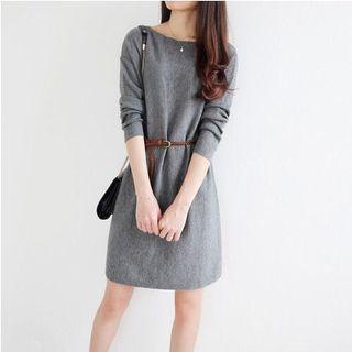 Long Sleeves Classic Korean Dress With Belt