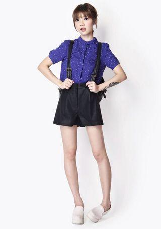 AFA Elle be preppy blouse in blue polka dots