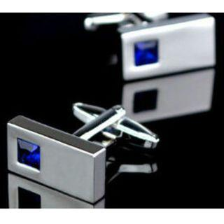 Silver Rectangular with Blue Rhinestone Cuff Link with White/Silver Stripe Tie Pin Set