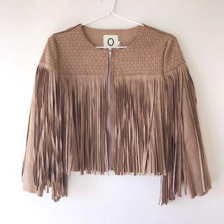 *NEW* Suede Like Cutout Fringed Crop Jacket Size S