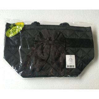 NaRaYa Black Satin Small Lunch Tote Handbag