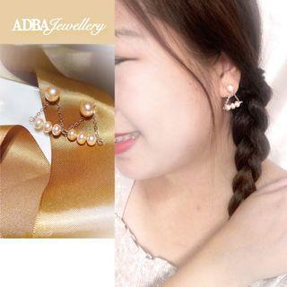 💖手作淡水珠淡橙色三角玫瑰金耳環 Light Orange fresh water pearl  Triangle Rose Gold Earring