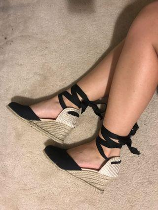 Black wedged sandals - size 36