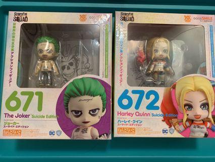 絕版黏土人 672&671 小丑女&小丑 Harley Quinn&Joker Suicide Edition