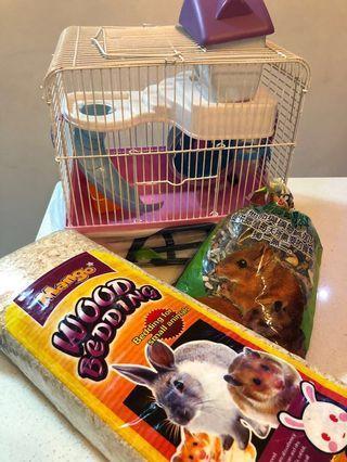 Hamster Set Cage, Bowl, Wheel, Bedding & more