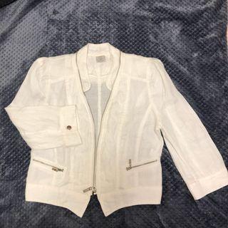 白色棉麻短版外套