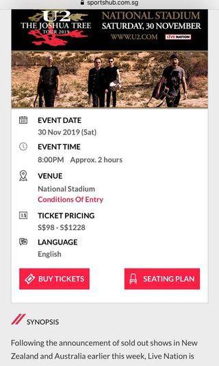 U2 Cat 2 tickets (best seating)
