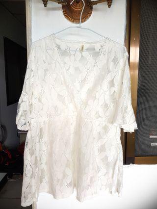 🚚 白色薄紗氣質罩衫洋裝