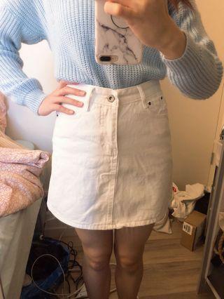 Korean White denim skirt