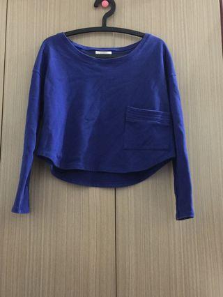 🚚 Pazzo 短版上衣 藍色長袖 不是薄款