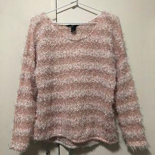 Fuzzy Pink and White Stripped Knit Sweater