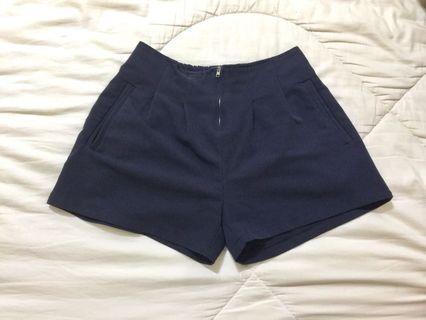 🚚 秋冬短褲 藍色 鬆緊帶腰身