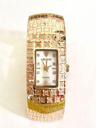 瑞士🇨🇭購買 CROTON玫瑰金 真鑽石 💎珠寶 手鐲錶