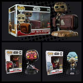 FUNKO POP - STAR WARS - Rey with Speeder Deluxe 2017 Galactic Convention Exclusive - Darth Maul 2019 Galactic Convention Exclusive - Watto 2019 Galactic Convention Exclusive