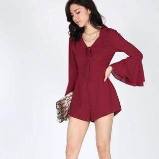 Love Bonito Ellette Bell Sleeved Playsuit in Wine