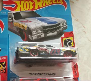 [暑假減價優惠]全新風火輪銀色雪佛蘭皮卡車 silvery color hotwheels 70 chevrolet chevelle ss wagon pickup truck