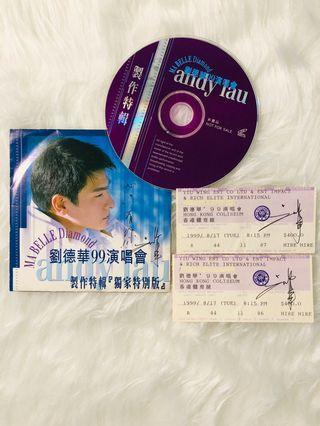 劉德華親筆簽名99演唱會「獨家特別版」+ 兩張親筆簽名演唱會門票