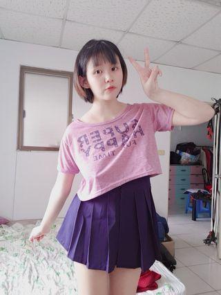 🚚 寬鬆紫色短版上衣
