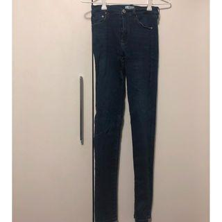 Dark Blue Skinny Jeans with Front and Back Pockets