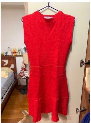 Zara紅色針織無袖洋裝