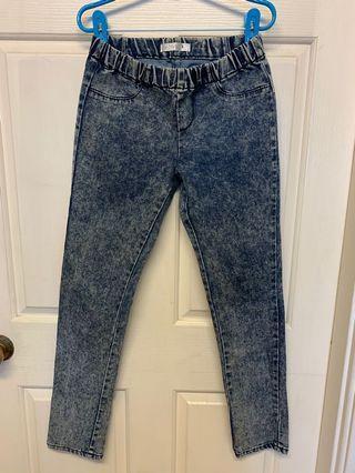 e-style專櫃深藍色雪花褲煙管褲窄管褲內搭褲好穿好看好搭配