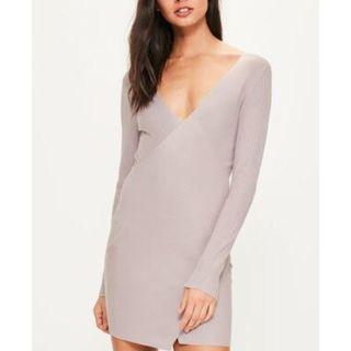 Pink Ribbed Wrap Over Mini Knitted Jumper Dress