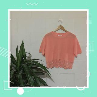 knitted coral top