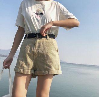 🚚 全新附皮帶)卡其色反折短褲