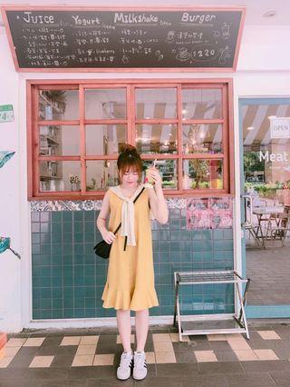 芥末黃魚尾裙