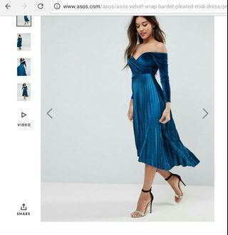 Velvet bardot wrap midi dress (Asos)