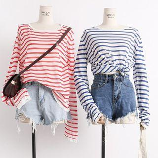 Stripe Long Sleeve Tee (Blue Color)