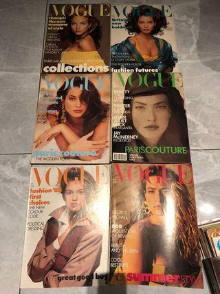 Vogue 1988's Magazine - 6 pc set