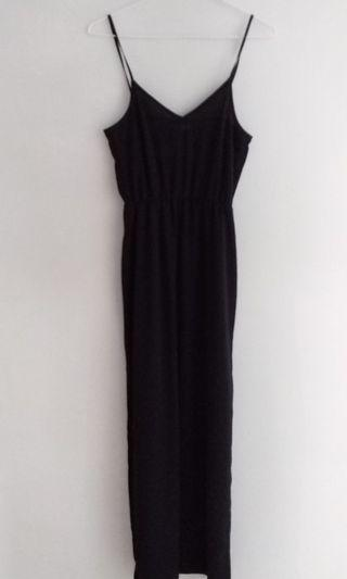 H&M黑色細肩帶開衩長裙