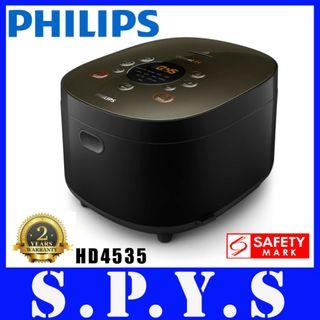 Philips HD4535 Rice Cooker. IH Rice Cooker. iSpiral IH Technology. Digital COntrol Panel. 1.5 Litres Capacity. Bakuhanseki Coating Pot. Safety Mark Approved. 2 Years Warranty.