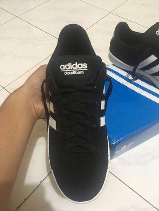 Adidas neo cloudfoam black suede