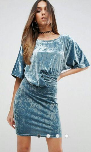 Velvet draped bodycon mini dress (Asos)