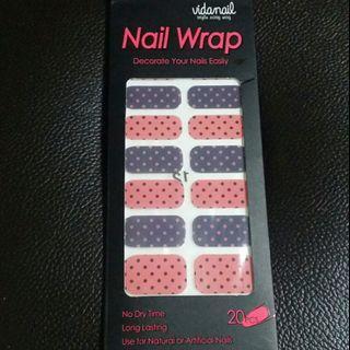Pretty Pink Black Polkadots Manicure Effects Waterproof Nail Foil Nail Wrap Nail Stickers