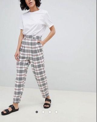 BNWT ASOS Design White Large Check Tapered Pants
