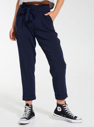 Navy Blue Tie Waist Paperbag Pants