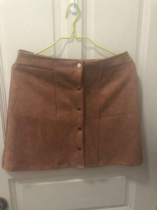 Miss Valley Brown Suede Skirt