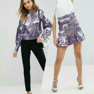 Metalic violet Blouse & skirt