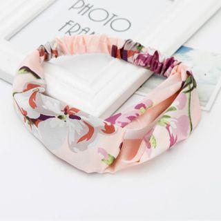 4-11 Beautiful Elastic Headband in Pink Flowers, Hair Band Turban