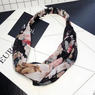 4-13 Beautiful Elastic Headband in Black Flowers, Hair Band Turban
