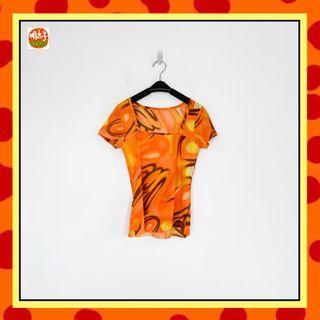 二手 橘色 印花 彈性 拼接布 方領 短袖 上衣 明太子 B618