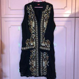 Black Long Top With Embroidery and Beads
