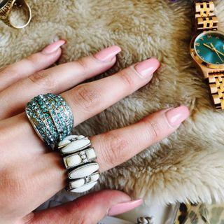 Pearly Crystal & Blue Turquoise Crystal Rings